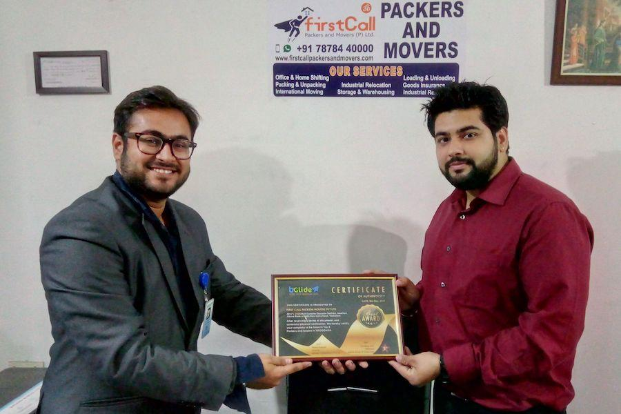 Certificate Authenticity of First Call Packers And Movers Private Limited